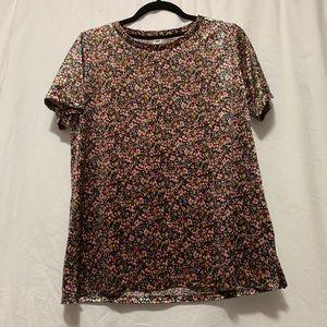 Velvet-ish multi coloured floral t-shirt